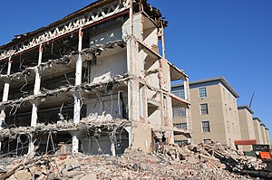 Navy Annex - Wing 2 of the building being demolished in January 2013