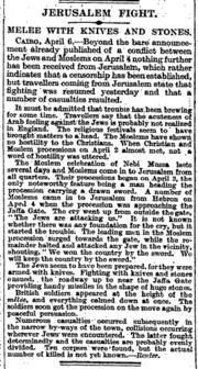 Nebi Musa riots, The Times, Thursday, Apr 08, 1920