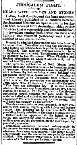 Nebi Musa riots, The Times, Thursday, Apr 08, 1920