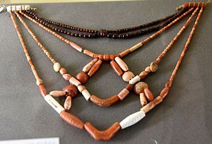 First Dynasty of Egypt - Image: Necklaces with different types of beads. Carnelian, coral, and garnet. 1st Dynasty, c. 3000 BCE. From the Tomb of Mena, Naqada or Abydos Cemetery B, Egypt. The Petrie Museum of Egyptian Archaeology, London