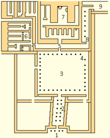 Map of Neferirkare's mortuary temple. The captions from 1-5 tend from east to west and from 6-9 tend from south to north.