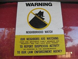 Neighborhood watch organization of residents watching for crimes