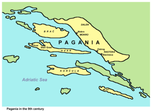 Narentines - Narentines State or Pagania in the 9th century, according to De Administrando Imperio.