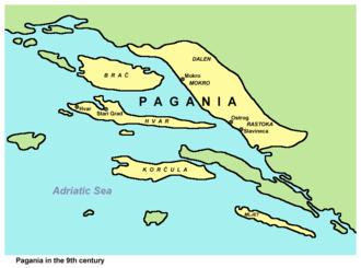 Narentines - Narentine State or Pagania in the 9th century, according to De Administrando Imperio.