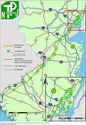 New Jersey Turnpike - Detailed map of the Turnpike including interchange locations and other surface highways in New Jersey