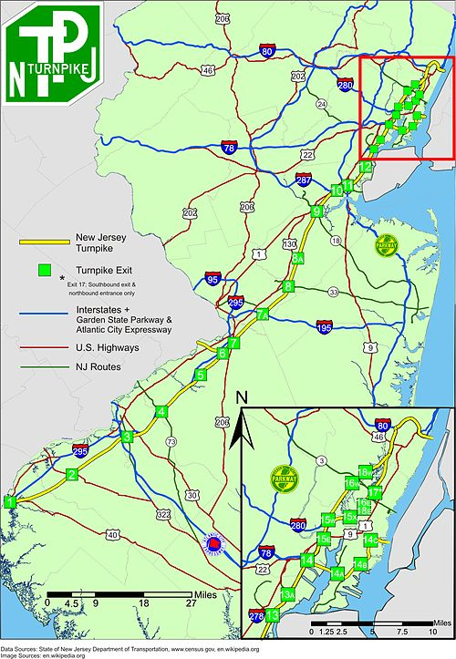 Detailed map of the New Jersey Turnpike including interchange locations and other surface highways in New Jersey NewJerseyTurnpike.jpg
