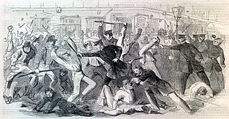 History of the New York City Police Department - New York City Metropolitan Police attacking American Civil War draft rioters during the New York City Draft Riots of 1863