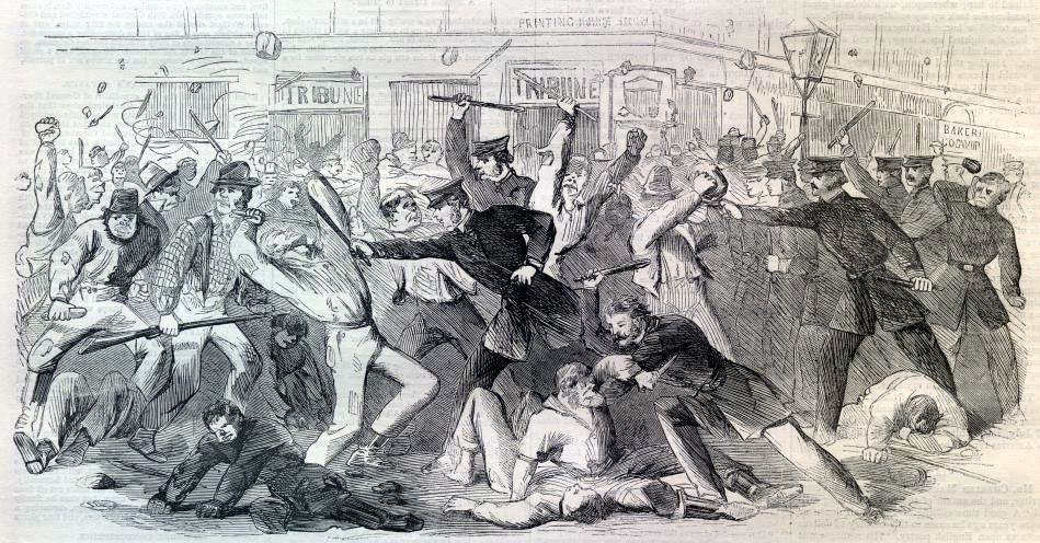 New York Draft Riots - Harpers - beating