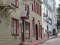 A historic side street in Newport