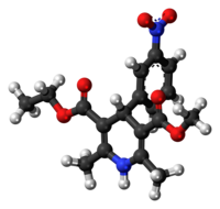 Ball-and-stick model of the nitrendipine molecule