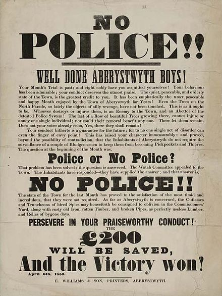 "Poster against ""detested"" Police at the town of Aberystwyth, Wales; April 1850. No Police!! Well Done Aberystwyth Boys 1850.jpg"