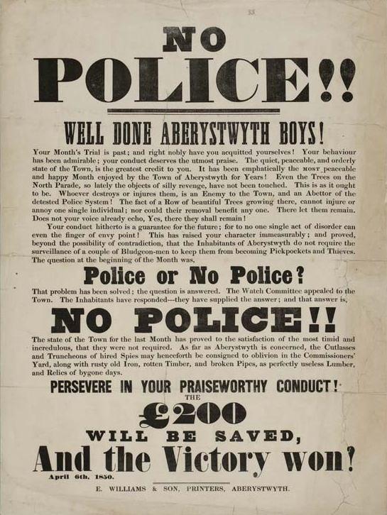 No Police!! Well Done Aberystwyth Boys 1850