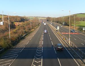 Northward view of A23 and Brighton Main Line from footbridge near Braypool Lane, Patcham (December 2012)