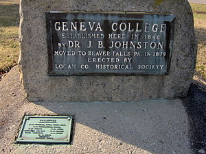 Geneva College - Stone marking the original campus in Northwood