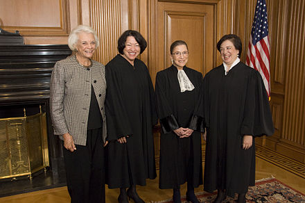 The four women who have served on the Court (from left to right: O'Connor and Justices Sonia Sotomayor, Ruth Bader Ginsburg, and Elena Kagan) on October 1, 2010, prior to Justice Kagan's Investiture Ceremony. O'Connor, Sotomayor, Ginsburg, and Kagan.jpg