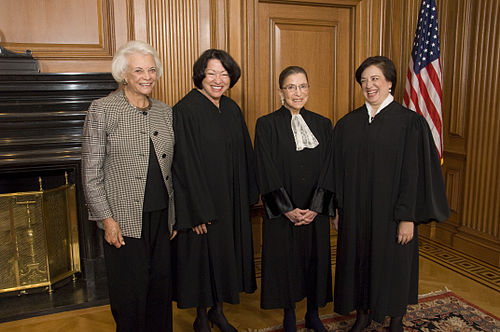 Sandra Day O'Connor, Sonia Sotomayor, Ginsburg, and Elena Kagan, October 1, 2010. O'Connor is not wearing a robe because she was retired from the court when the picture was taken. O'Connor, Sotomayor, Ginsburg, and Kagan.jpg