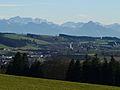 Obergünzburg - Berg westl - Günzach m Zugspitze.JPG