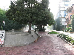 Octavia Boulevard - Looking south along Octavia Street from Jackson Street. This is one of the few blocks in San Francisco still paved in brick.