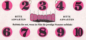 "Smell-O-Vision - German card from the film ""Polyester"""