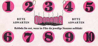 "Scratch and sniff - German scratch and sniff card from the film ""Polyester"""