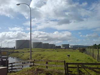 Wiri - A petroleum-product storage depot at the western edge of Wiri