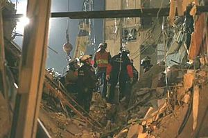 Critical infrastructure protection - Oklahoma City bombing: Search and rescue teams formed from various emergency services coordinated by FEMA