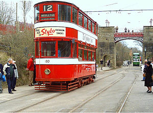 National Tramway Museum - Crich features working trams in a traditional street setting. This 1931 Leeds tram is about to pass under the historic Bowes-Lyon Bridge