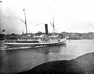 Olympian (sidewheeler) - Olympian arriving in Victoria, BC sometime in the 1890s