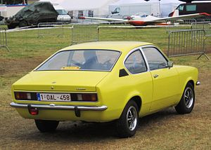 Opel Kadett C Coupé rear three quarters at Schaffen-Diest in 2014.JPG