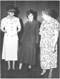Opha Johnson (far right) in 1946, with Katherine Towle (far left). They are looking at Opha Johnson's uniform being worn by PFC Muriel Albert. Opha Johnson and Katherine Towle in 1946.png