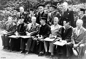 James B. Conant - Award of honorary degrees at Harvard to Robert Oppenheimer (left), George C. Marshall (third from left) and Omar N. Bradley (fifth from left) in June 1947. Conant sits between Marshall and Bradley. Marshall used the occasion to announce the Marshall Plan.