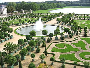 French formal garden - Parterres of the Orangerie at the Palace of Versailles.
