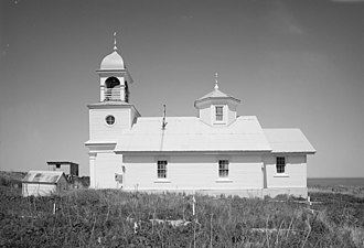 Karluk, Alaska - Ascension of Our Lord Russian Orthodox Church in Karluk. Built in 1888, the building was added to the National Register of Historic Places on June 6, 1980.