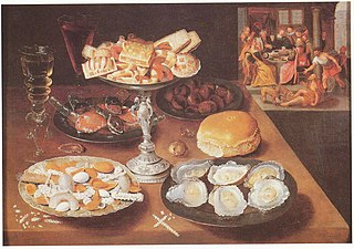 Still life with oysters and sweets, in the bakground \