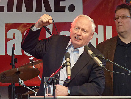 Oskar Lafontaine, co-founder of Germany's political party The Left, had been chairman of the SPD, but he resigned and quit the party due to his opposition to the SPD's turn towards the Third Way under Gerhard Schroder Oskar Lafontaine, 2011-03-21.jpg