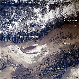 Owens Lake - Image of the Owens Valley from the International Space Station – oriented top = true west.