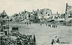 Péronne, Somme - The ruined main square of Péronne after the First World War