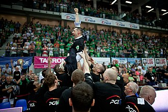 2013–14 PLK season - Turów celebrating after their first national championship
