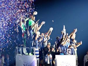 History of Paris Saint-Germain F.C. - Parisian players celebrating the 2014–15 Ligue 1 title.