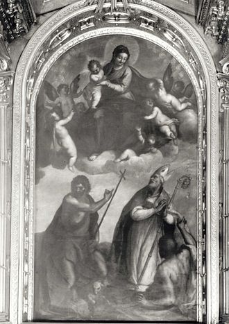 Looted art - Virgin and Child with St. John the Baptist and St. Stanisław by Palma il Giovane was looted by Napoleon and returned to Warsaw in the 1820s. It was later destroyed by the Germans during the Warsaw Uprising.