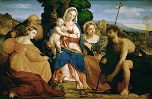 Palma Vecchio - Virgin and Child, Saints Catharine and Celestine, John the Baptist and Barbara, 1520–22