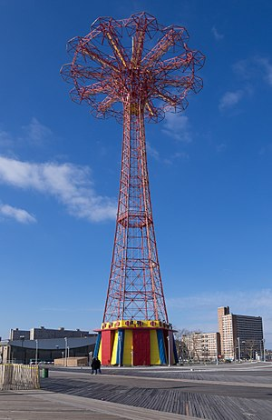 Parachute Jump - The parachute jump towers over the Coney Island boardwalk.