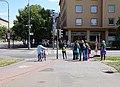 Pardubice, Palackého třída, přechod a cyklopřejezd přes Hlaváčovu.jpg