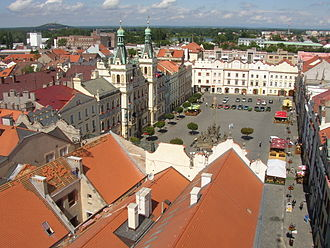 Pardubice - The main square as seen from the Green Tower