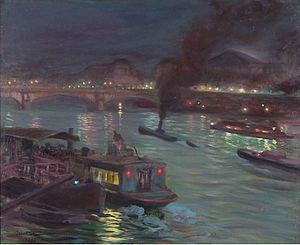 Pierre-Georges Jeanniot - View of Seine by Night, 1892, Private Collection