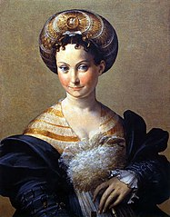 Portrait of a Young Woman with a turban on her head; with the left hand she holds a plume