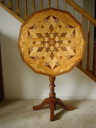 Marquetry - In contrast, this Tilt-top table is veneered in a parquetry pattern by Isaac Leonard Wise, circa 1934.