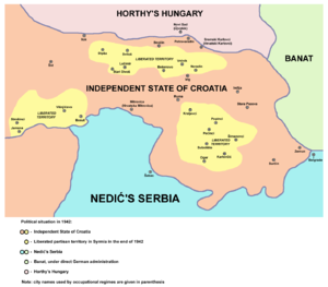 Pećinci - Liberated partisan territory in the area of modern Pećinci municipality during Axis occupation in the end of 1942