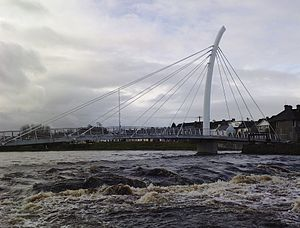 Ballina, County Mayo - Image: Pedestrian footbridge over Ridge Pool on River Moy in Ballina Co Mayo