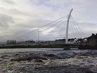 Ballina, County Mayo - The Salmon Weir Bridge over the River Moy.